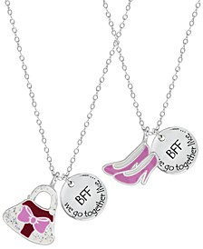 Children's  Shoes Purse Best Friends Two Piece Necklace Set in Sterling Silver