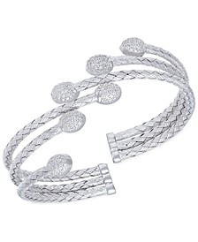 Stepped Rows Crystal Dome Cuff Bangle in  Sterling Silver