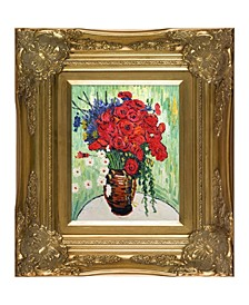 "by Overstockart Vase with Daisies and Poppies by Vincent Van Gogh with Victorian Frame Oil Painting Wall Art, 18"" x 16"""
