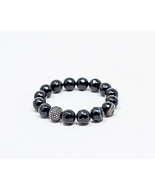 Black Agate Gemstone with Gunmetal Pave Focal Bead Bracelet