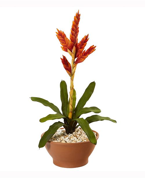Nearly Natural 23in. Tropical Bromeliad Artificial Plant in Terracotta Planter