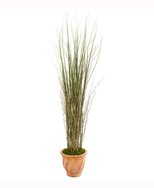 Nearly Natural 41in. Grass and Bamboo Artificial Plant in Terracotta Planter