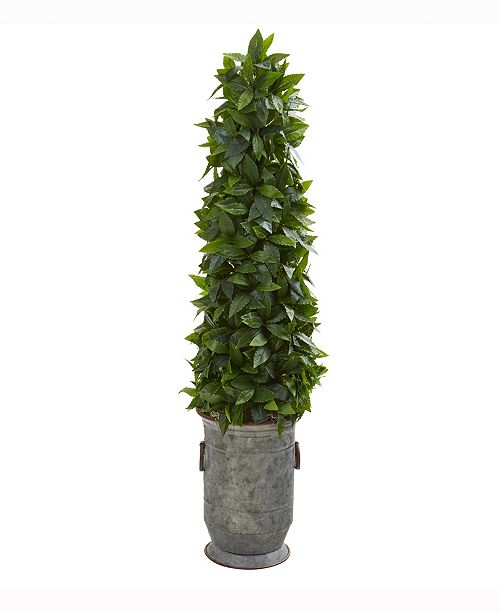 Nearly Natural 40in. Sweet Bay Cone Topiary Artificial Tree in Vintage Metal Planter