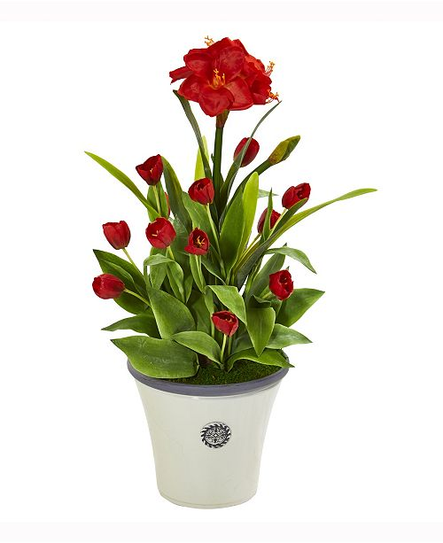Nearly Natural 39in. Amaryllis and Tulip Artificial Plant in Decorative Planter