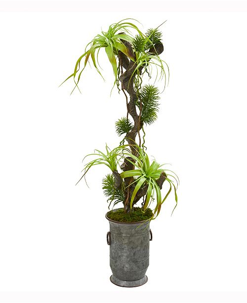 Nearly Natural 47in. Tillandsia Artificial Plant in Vintage Metal Planter