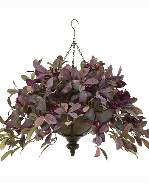 Nearly Natural 27in. Fall Laurel Leaf with Berries Artificial Plant in Metal Hanging Bowl