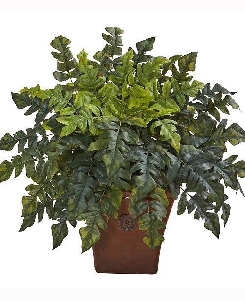 Nearly Natural 28in. Holly Fern Artificial Plant in Brown Planter