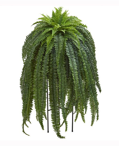 Nearly Natural 52in. Boston Fern Artificial Plant in Black Stand Planter