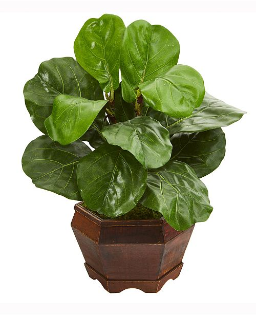 Nearly Natural 19in. Fiddle Leaf Artificial Plant in Decorative Planter