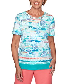 Miami Beach Shell-Print Lattice-Neck Top