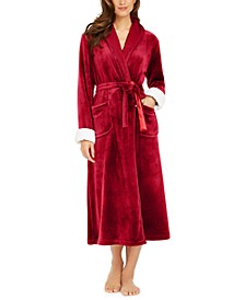 Faux-Fur-Trim Long French Fleece Robe