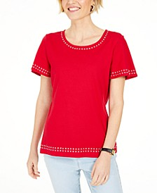 Grommet-Trim Cotton Top, Created for Macy's
