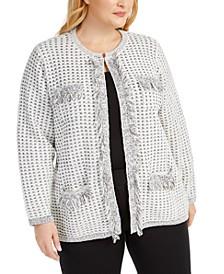Plus Size Fringe-Detail Sweater Coat