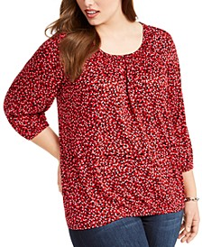 Plus Size Printed Peasant Top