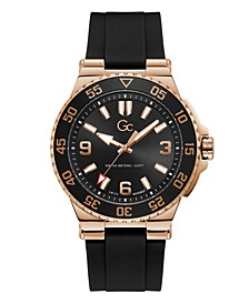 Gc Men's Structura Diver Black Silicone Strap Watch 44mm