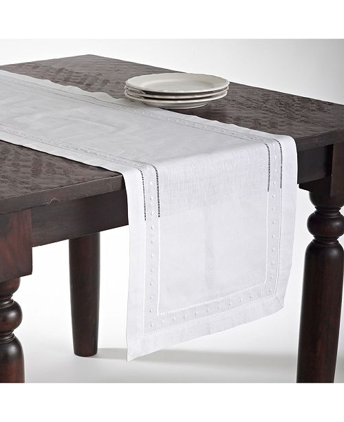 Saro Lifestyle Embroidered and Hemstitched Table Runner