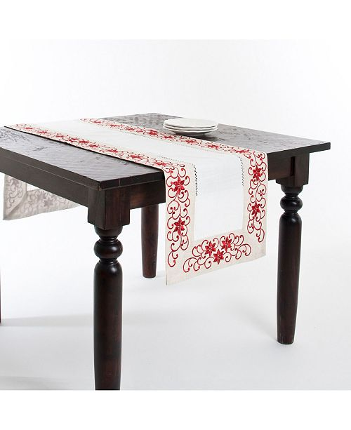 Saro Lifestyle Embroidered and Cutwork Runner