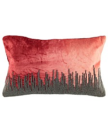 "Ombre Velvet Collection Skyline Beaded Lumbar Pillow, 13"" x 20"""