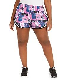 Plus Size Icon Clash Printed Tempo Shorts