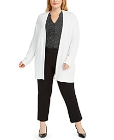Plus Size Open-Front Knit Cardigan Sweater, Created for Macy's