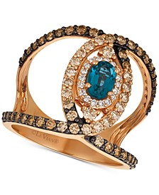 Deep Sea Blue Topaz (1/2 ct. t.w.) & Diamond (1 ct. t.w.) Ven Statement Ring in 14k Rose Gold