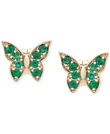 Sapphire Butterfly Stud Earrings (1/3 ct. t.w.) in 10K White Gold (Also Available In Certified Ruby and Emerald)