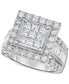Diamond Princess Cluster Halo Engagement Ring (2-1/2 ct. t.w.) in 14k White Gold