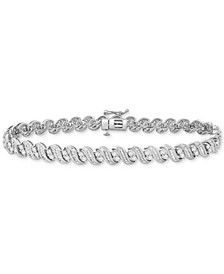 Diamond Swirl Tennis Bracelet (2 ct. t.w.) in 10k White Gold