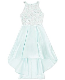 Big Girls Embroidered Satin Dress