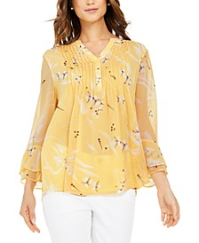 Double-Ruffle Printed Pintuck Top, Created for Macy's