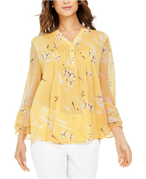 Charter Club Double-Ruffle Printed Pintuck Top, Created for Macy's
