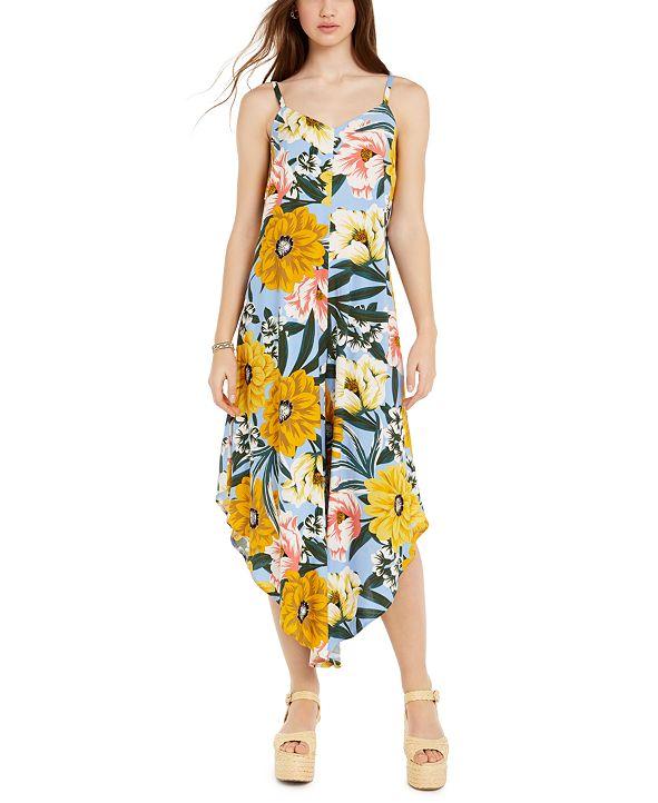 JUST HANGING Juniors' Floral-Print Asymmetrical-Hem Cropped Jumpsuit
