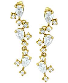 Cubic Zirconia Vine Drop Earrings in 18k Gold-Plated Sterling Silver