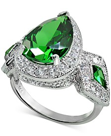 Cubic Zirconia Green Teardrop Halo Statement Ring in Sterling Silver