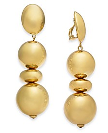 Gold-Tone Puff Circle Clip-On Drop Earrings, Created for Macy's