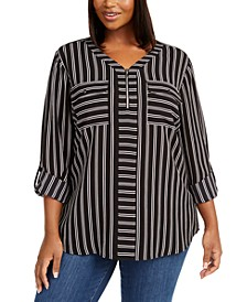 Plus Size Striped Zippered Top