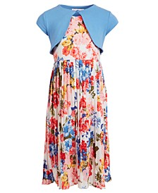 Little Girls 2-Pc. Cardigan & Floral Maxi Dress Set