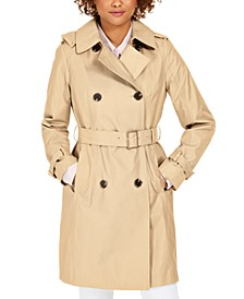 Belted Double-Breasted Water-Resistant Hooded Trench Coat