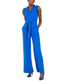 Petite Belted Ruffle Jumpsuit