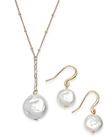 Gold-Tone 2-Pc. Set Imitation Pearl Pendant Necklace & Matching Drop Earrings, Created for Macy's