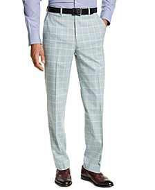 Men's Classic-Fit Green Windowpane Suit Separate Pants