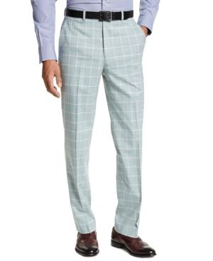 60s – 70s Pants, Jeans, Hippie, Bell Bottoms, Jumpsuits Sean John Mens Classic-Fit Green Windowpane Suit Separate Pants $49.99 AT vintagedancer.com