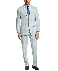 Men's Classic-Fit Green Windowpane Suit Separates