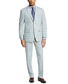 Men's Classic-Fit Green Windowpane Suit Separates