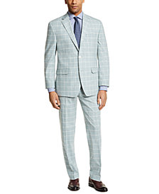Sean John Men's Classic-Fit Green Windowpane Suit Separates