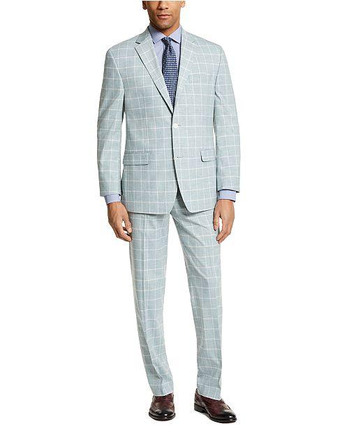 Sean John Men's Classic-Fit Green Windowpane Suit Separates