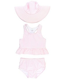 RuffleButts Toddler Girls Peplum 2-Piece Tankini Swimsuit Swim Hat Set