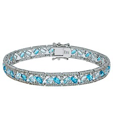 Blue and White Topaz Tennis Bracelet in Sterling Silver