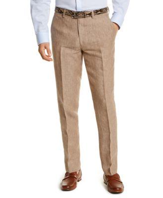 Men's Slim-Fit Tan Pinstripe Linen Suit Separate Pants, Created for Macy's