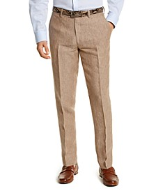 Men's Slim-Fit Tan Pinstripe Linen Suit Separate Pants, Created For Macy's